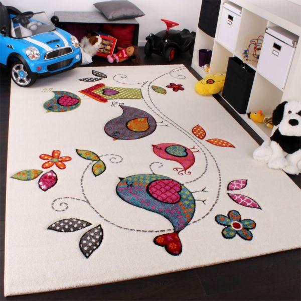 Kinder Teppich Vogel Design Creme Blau Orange Grün