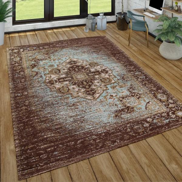 Orient Kurzflor Teppich Wohnzimmer Used-Look Orientalisches Design In Braun