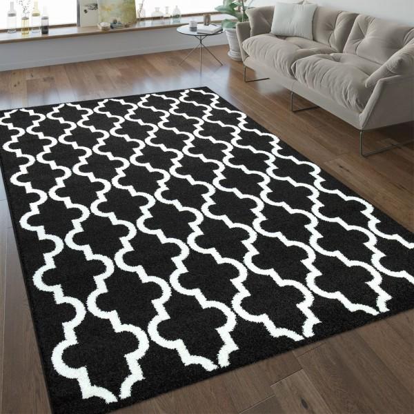 Modern Kurzflor Teppich Marokkanisches Design Schwarz