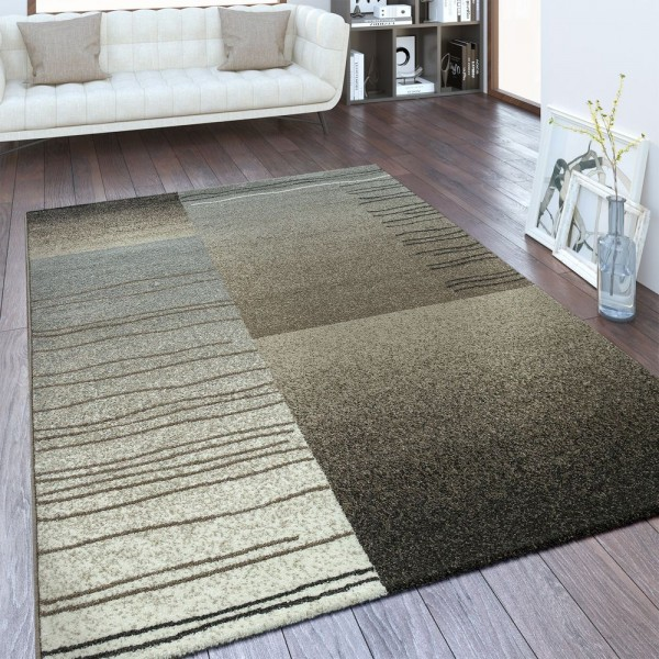 Designer Teppich Karo Design Taupe