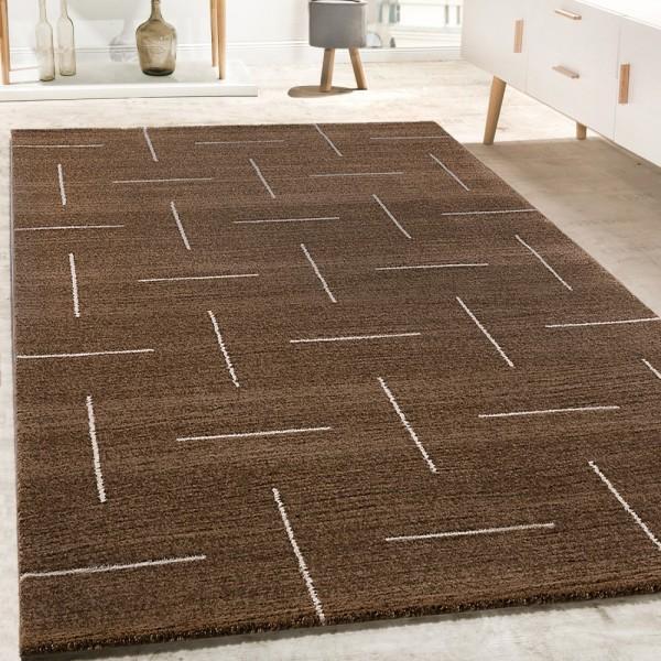Designer Teppich Wohnzimmer Modernes Design In Braun Weiß Meliert