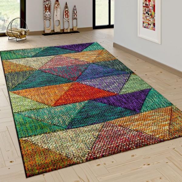 Wohnzimmer Teppich Mit Modernen Rauten Mustern Trend Design Mehrfarbig Bunt