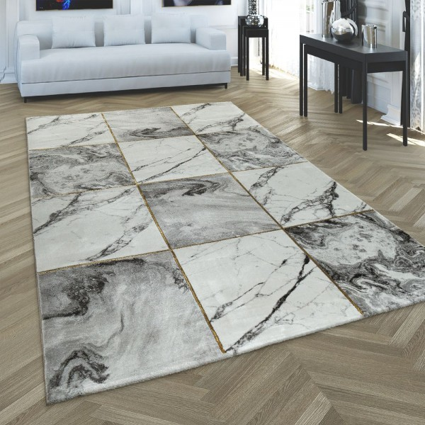 Teppich Wohnzimmer Grau Gold Weich Rauten Muster Marmor Design Meliert Kurzflor
