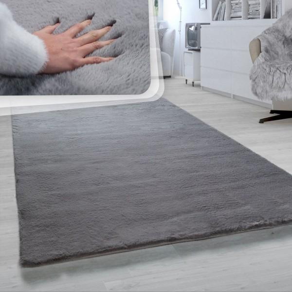 Hochflor-Teppich, Shaggy-Teppich Für Wohnzimmer, Weich Einfarbig, in Dunkelgrau