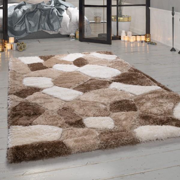 Hoogpolig tapijt shaggy steendesign