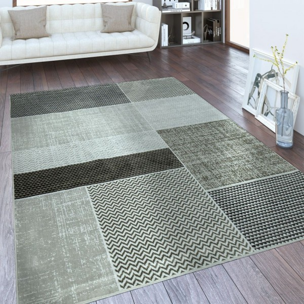 Designer Teppich Patchwork Muster Taupe