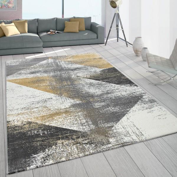 Frisé-vloerkleed woonkamer used-look grijs