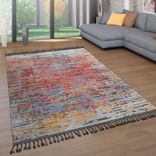 Kurzflor Wohnzimmer Teppich Fransen Bunt Ethno Design Abstrakt 3-D Effekt Flach