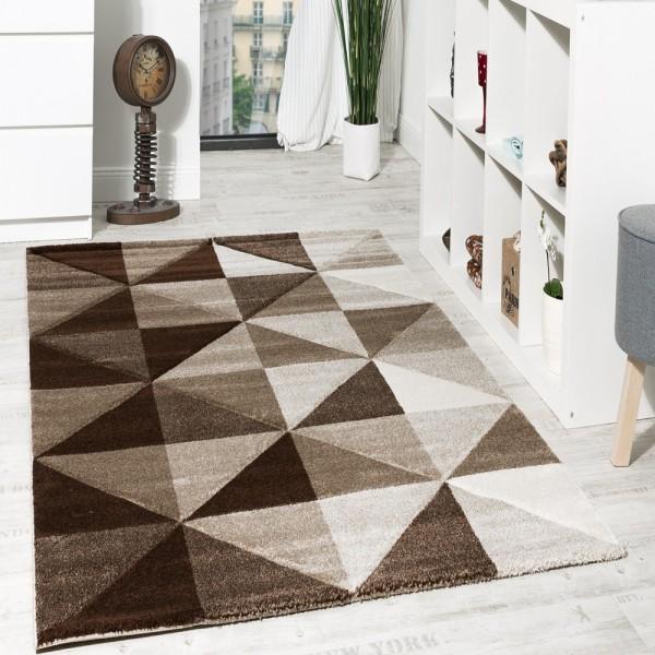 Wohnzimmer Teppich Piramid Design Modern Braun Beige Ausverkauf