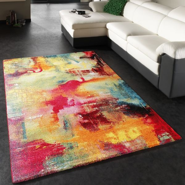 Teppich Modern Design Teppich Leinwand Optik Multicolour Grün Blau Rot Gelb