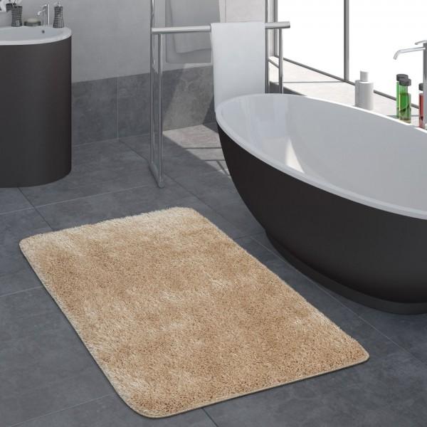 Moderner Hochflor Badezimmer Teppich Einfarbig Badematte Rutschfest In Beige
