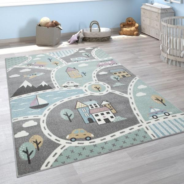 Kinder-Teppich Mit Straßen-Motiv, Spiel-Teppich Für Kinderzimmer, In Grün Grau