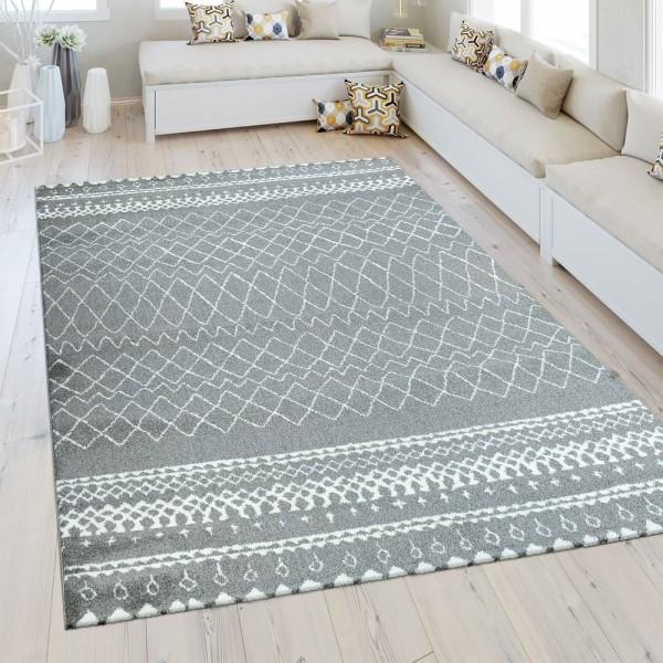 Heatset Teppich Marokkanisches Muster Silber Grau
