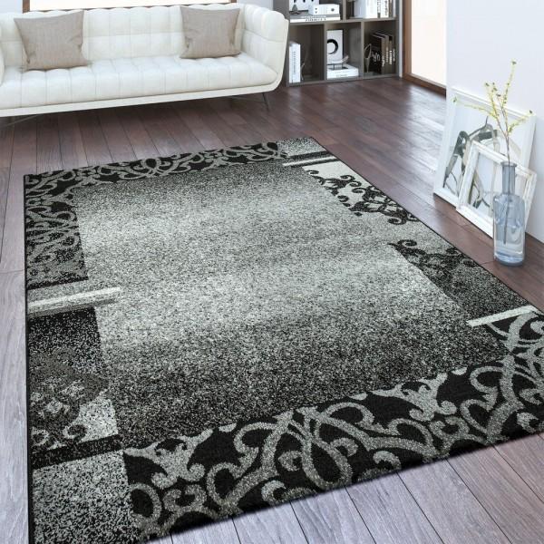 Designer Teppich Bordüre Anthrazit
