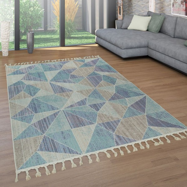 Teppich Wohnzimmer Blau Grau Beige Fransen 3-D Design Abstraktes Muster Kurzflor