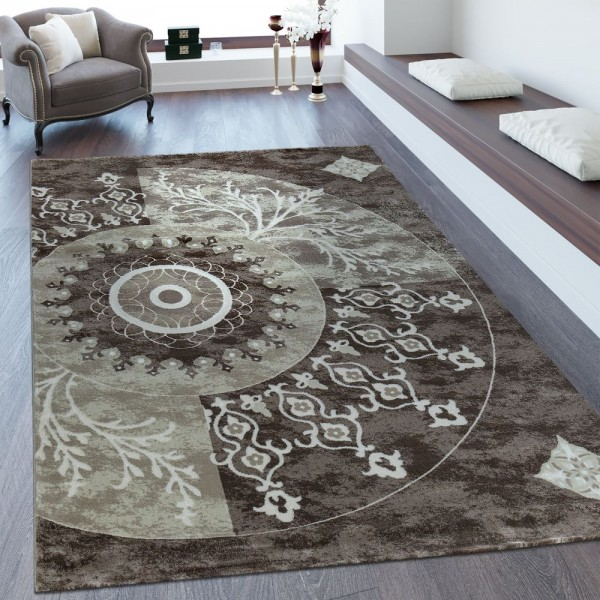 Heatset Teppich 3D Effekt Orient Muster Beige