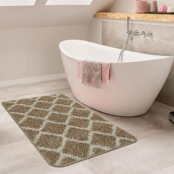 Moderne Badematte Mit Rauten Design Hochflor Badteppich In Beige Weiß