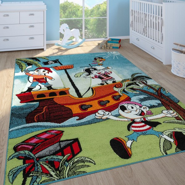 Kinderteppich Kinderzimmer Spielteppich Kurzflor Piratenschiff Schatzkiste In Bunt