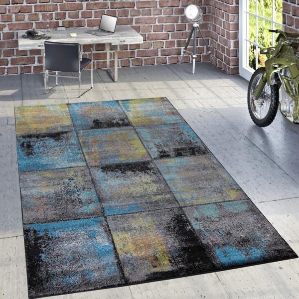Designer Teppich Modern Wohnzimmer Ölgemälde Abstrakt Rost Optik In Blau Gelb