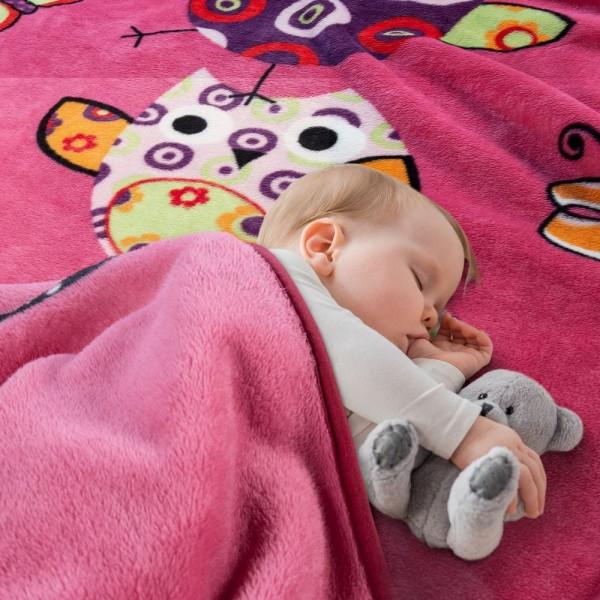 Decke Kinderdecken Niedliche Eulen Pink Fuchsia Kuscheldecke Spieldecke