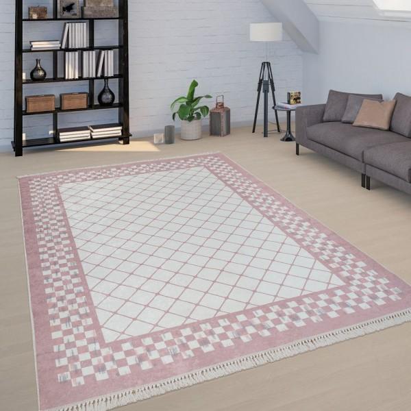 Kurzflor Teppich Wohnzimmer Pink Rosa Pastellfarben Rauten Used-Design Bordüre