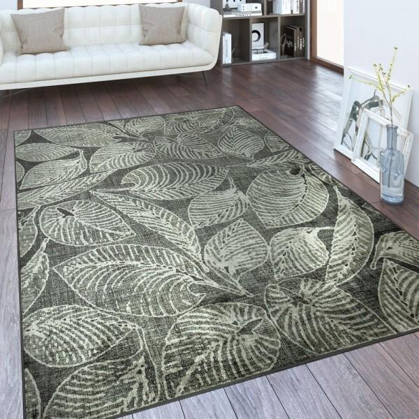Designer Teppich Laubblätter Taupe