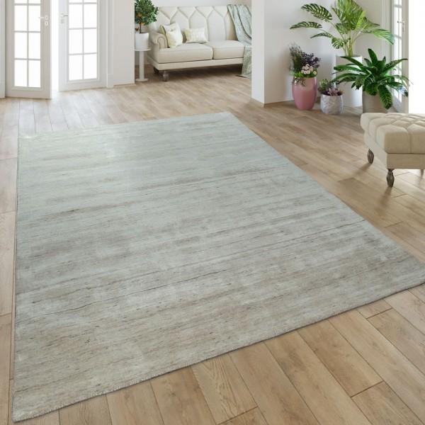 Teppich Handgefertigt Hochwertig Baumwolle Viskose Elegant Meliert In Uni Beige