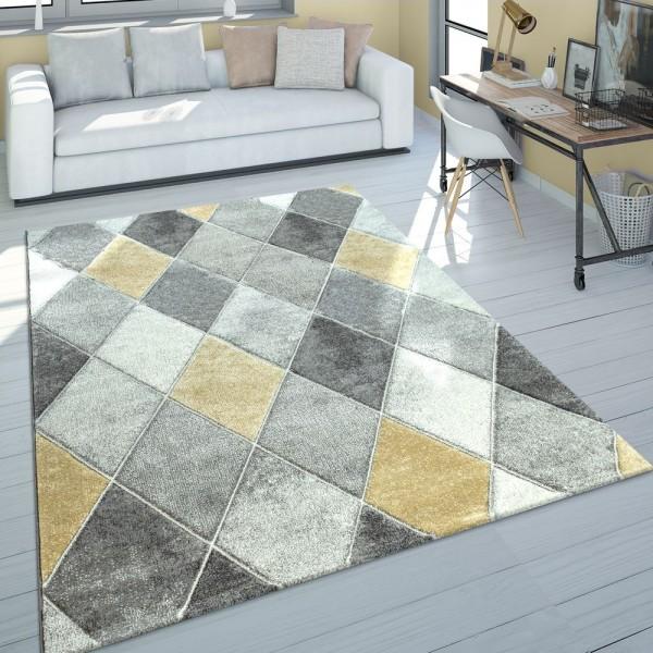 Teppich Wohnzimmer Grau Gelb Pastellfarben Rauten Design 3-D Muster Kurzflor