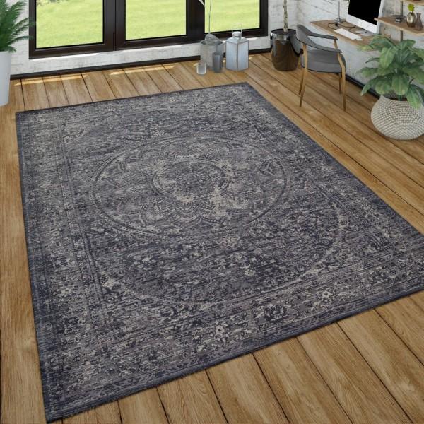 Orient Kurzflor Teppich Wohnzimmer Used-Look Orientalisches Design In Anthrazit