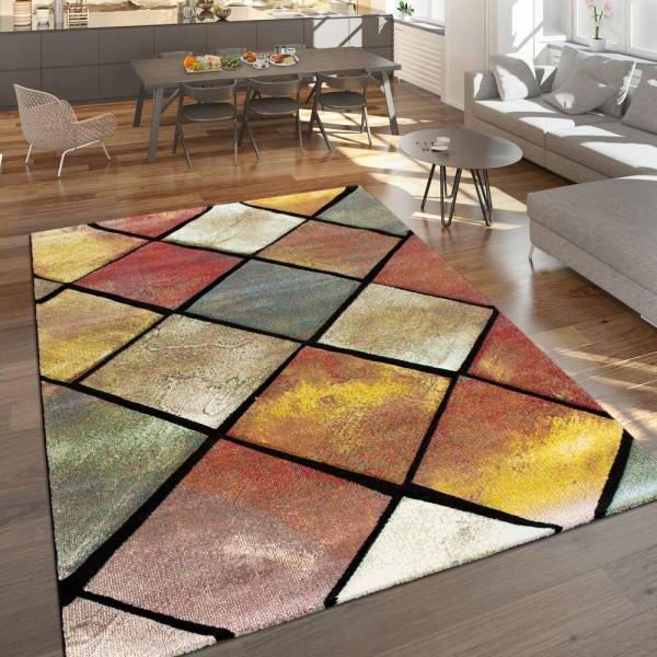 vloerkleed ruitenpatroon 3D-effect woonkamer