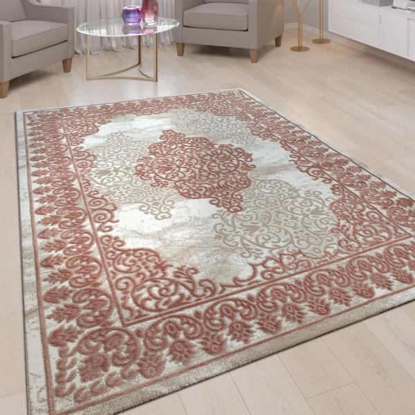 Wohnzimmer-Teppich, Kurzflor Mit Orientalischem Muster, 3D-Look In Rosa