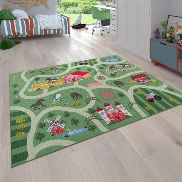 Kindertapijt, Speeltapijt voor kinderkamers, Landschap en paarden, In het groen