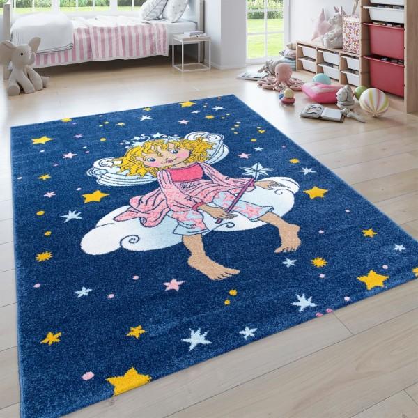 Kinder-Teppich, Kurzflor Für Kinderzimmer, Lilifee-Motiv, Karo-Muster in Blau