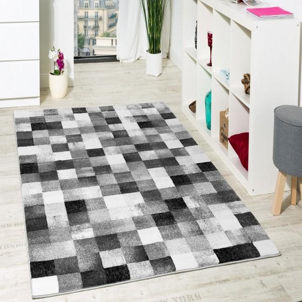 Teppich Modern Grau Schwarz Anthrazit Kariert Ausverkauf