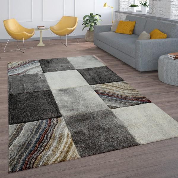 Laagpolig tapijt ruitpatroon marmerlook grijs