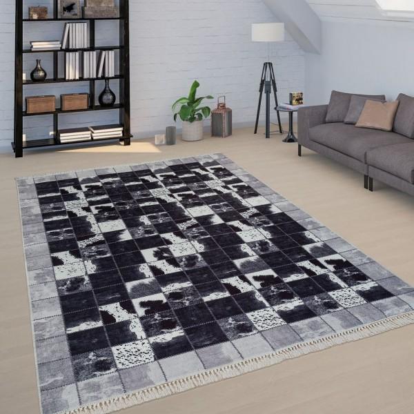 Teppich Wohnzimmer Schwarz Weiß Kuhflecken Muster Karo Muster Patchwork Weich