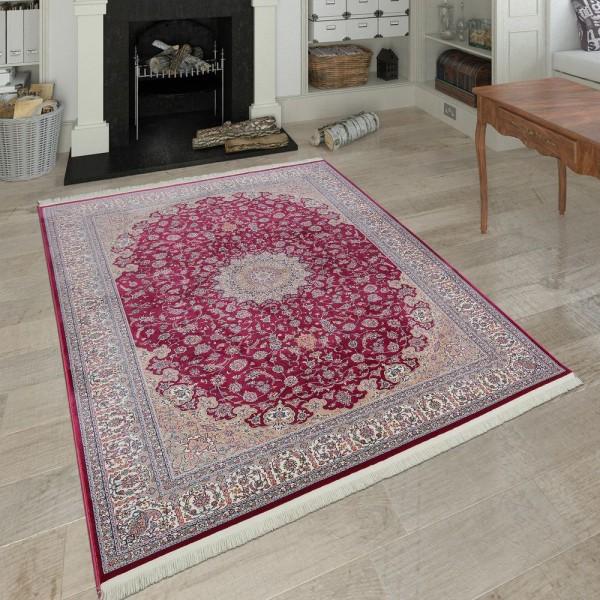 Orientalischer Polyacryl Teppich Ornamente Rot Creme