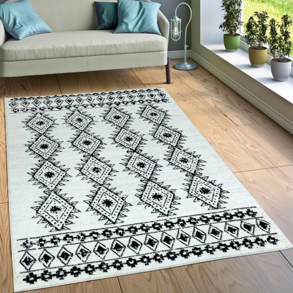 Designer Teppich Kurzflor Wohnzimmer Indianischer Look Modern Creme Beige