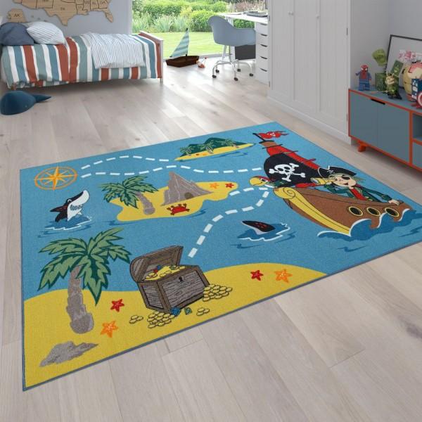 Kinder-Teppich, Spiel-Teppich Für Kinderzimmer, Schatzinsel Und Pirat, In Bunt