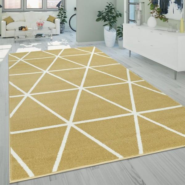 Kurzflor Wohnzimmer Teppich Modern Geometrisches Design Rauten Muster In Gelb
