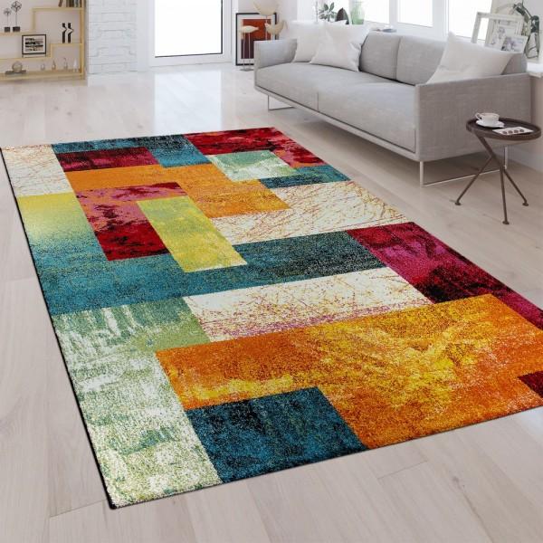 Designer Teppich Karo Muster Multicolor