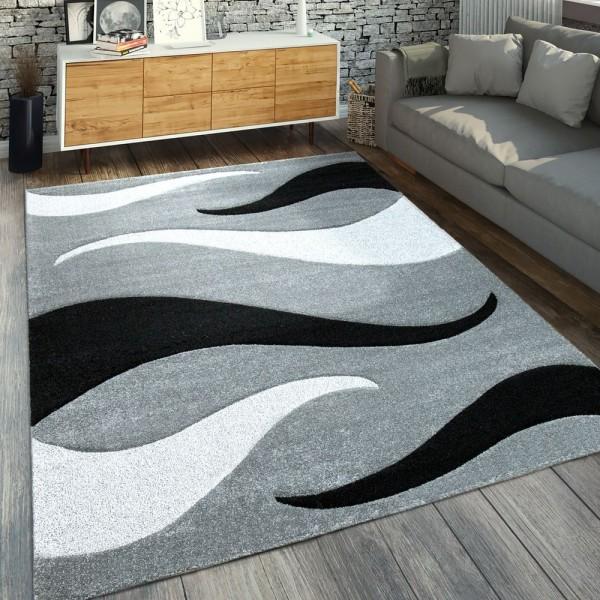 Moderner Kurzflorteppich Wellen Muster Silber