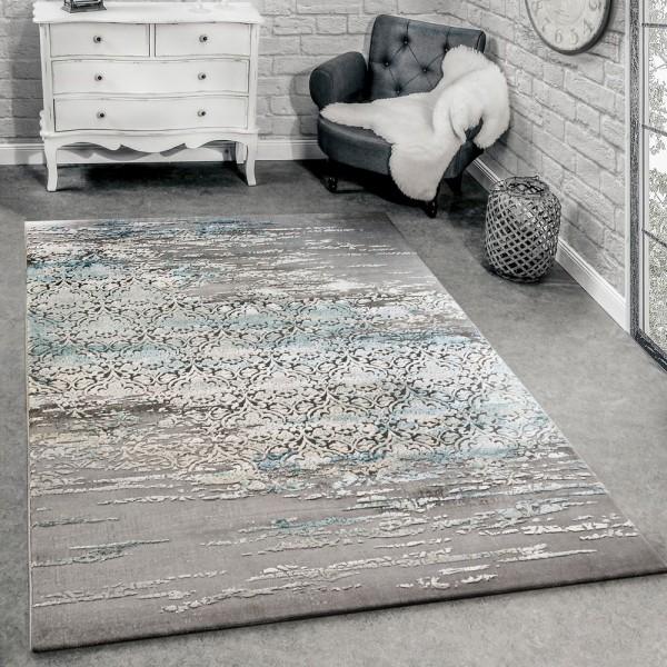 Designer Teppich Wohnzimmer Moderne Ornamente Muster Meliert Grau Blau