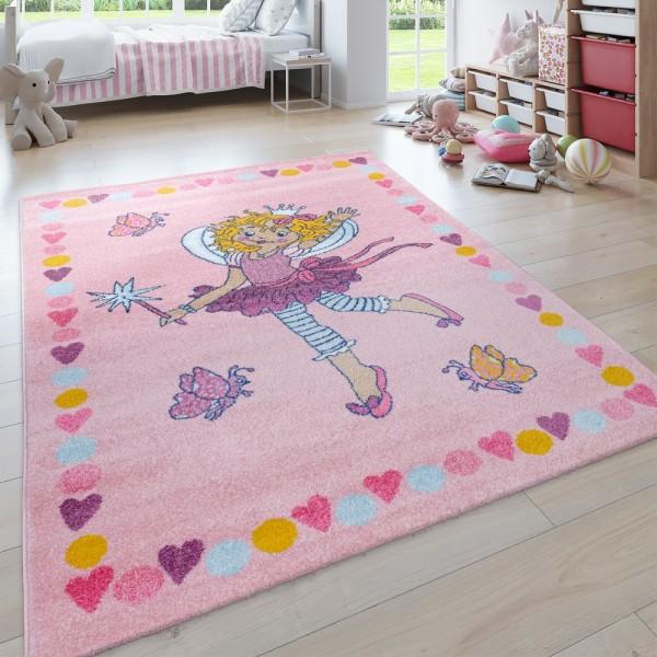 Kinder-Teppich, Kurzflor Für Kinderzimmer, Lilifee-Motiv, Bordüre, in Rosa