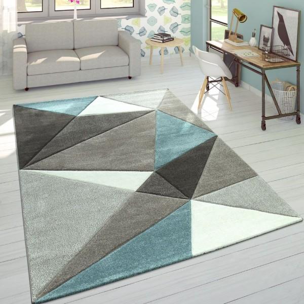 Designer Teppich Moderner Konturenschnitt Trendige Dreiecke Pastell Grau Türkis