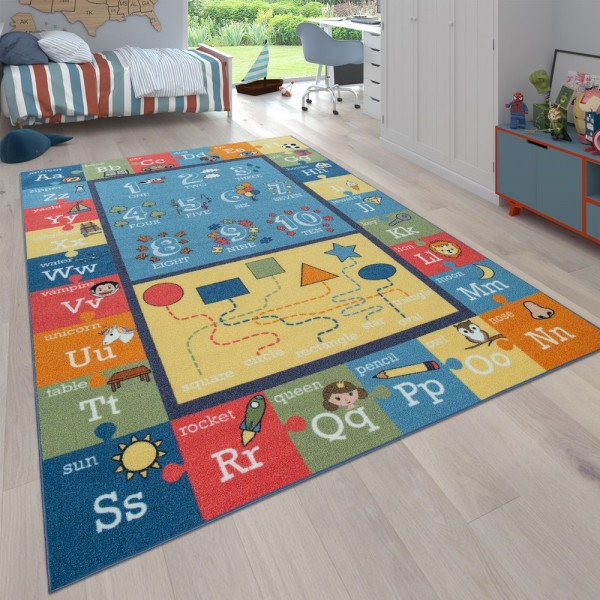 Kinder-Teppich, Lern-Teppich Für Kinderzimmer, Mit Buchstaben Und Zahlen, Bunt