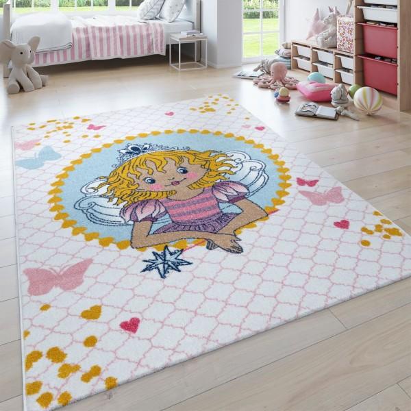 Kinder-Teppich, Kurzflor Für Kinderzimmer, Lilifee-Motiv, in Weiß Rosa