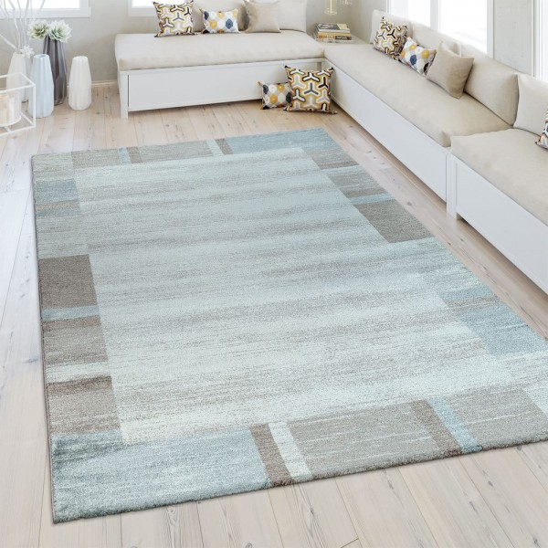Heatset Teppich Bordüre Pastell Blau