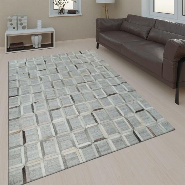 Wohnzimmer Teppich Leder Wolle Modern Muster Viereck In Grau Schwarz Braun